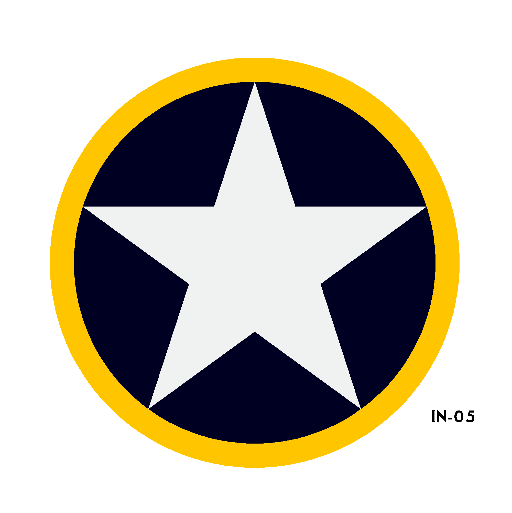 U.S. Army Air Force National Star in Circle with Yellow Outline Insignia Vinyl - Spec. No. 24102-K